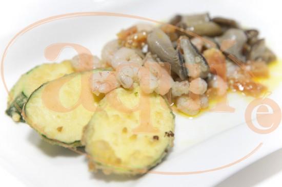 Calabacín con gambas a la salsa vinagreta de setas