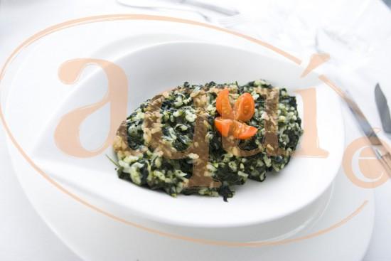 Espinacas con arroz cremoso
