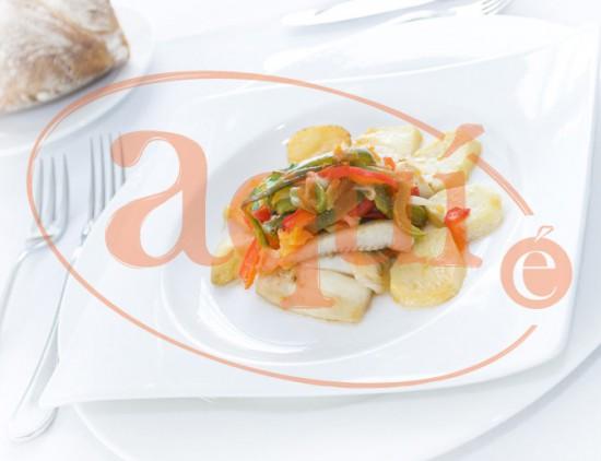 Filete de fletán con verduras